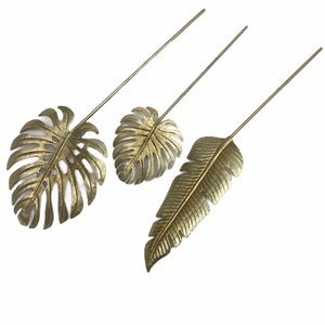 Tropical Palms Gold Tone Metal Fronds Set of 3